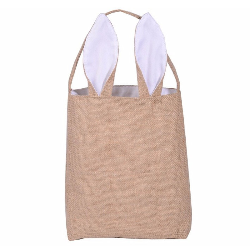 Lovely practical women shoulder bag rabbit ears fabric shopping bag casual jute cotton fabric tote bag pattern for girls(China (Mainland))
