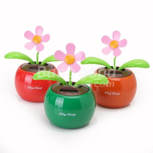 OnlinDeal Flip Swing Flap Solar Powered Flower Car Toy Gift(China (Mainland))