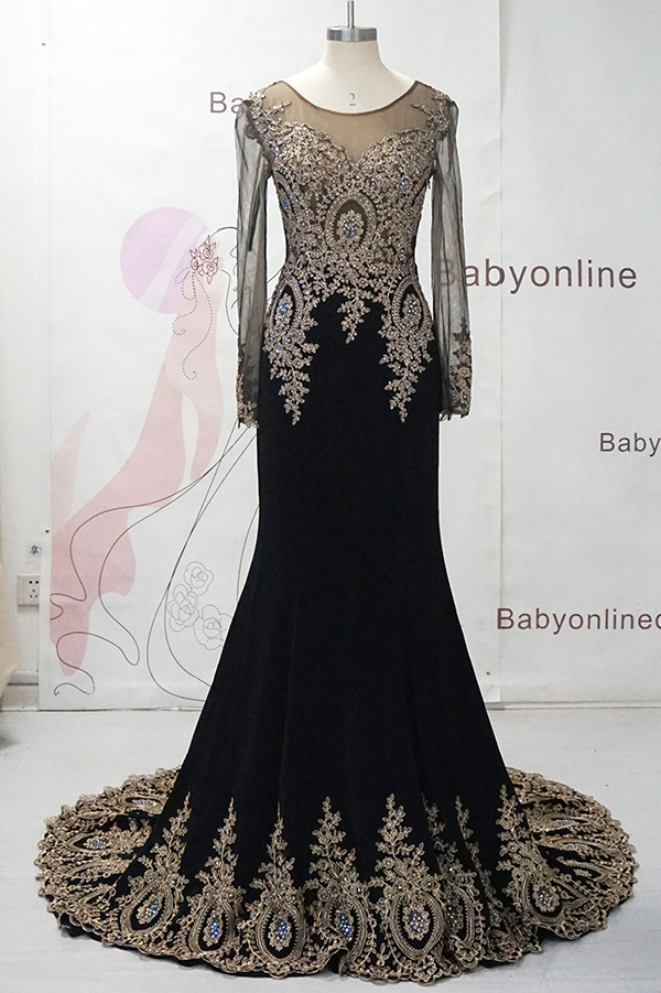 Elegant Bead Dubai Arabic Evening Dress Party Real Sample Chiffon Long Black Dress Formal Evening Gowns Mermaid Robe De Soiree(China (Mainland))