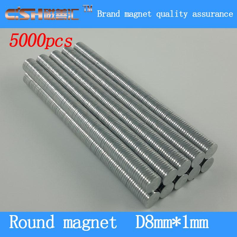 Гаджет  High Quality 5000pcs Neodymium Disc Magnets 8x1 mm craft fridge magic strong thin 8mm x 1mm Round Magnet N50 None Строительство и Недвижимость