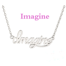 American trendy Gold Plated DIY Jewelry Imagine Letter Vintage Pendant Necklace Personalized Custom Word Necklace for Women(China (Mainland))
