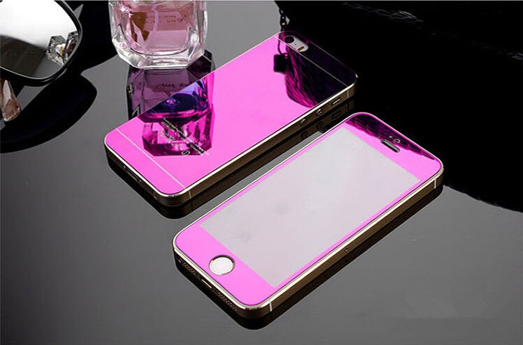 For apple iPhone 4 4s 5 5s 6s 6Plus Plus case 2.5D Screen Protector Metal Plating Mirror Premium Tempered Glass Full Cover Film