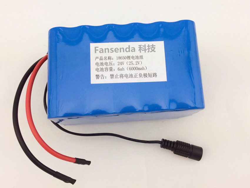 24V 6ah 18650 battery robot outdoor portable lithium batteries pack Free shipping