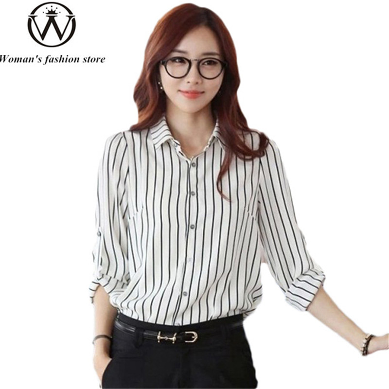 2015 new fashion women ladies casual wear black and white for Black and white striped long sleeve shirt women