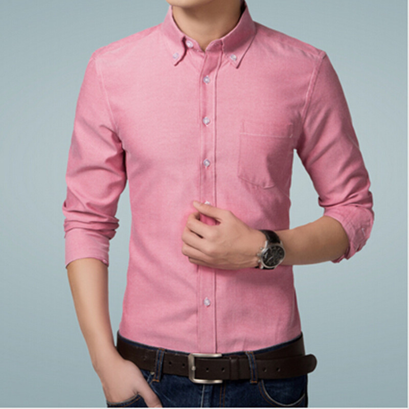 New arrival men 39 s no iron solid color slim fit shirt long for Mens no iron dress shirts