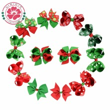 Buy 12 pcs/lot Christmas Grosgrain Ribbon Bows WITH Clip Snowflake Pinwheel Hair Clips Hair Pin Accessories gift 639 for $4.99 in AliExpress store