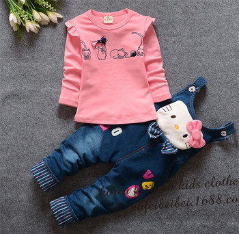 New Baby Girls Cartoon Clothing Set Alphabet Pure Color Long Sleeve T-shirt + Denim Overalls Suit Set Infant Tracksuit 572102