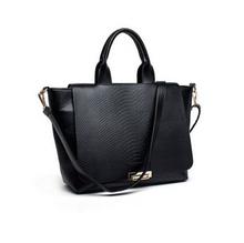 Uns versand dame schlange pu-leder handtaschen tote schwarze umhängetasche(China (Mainland))