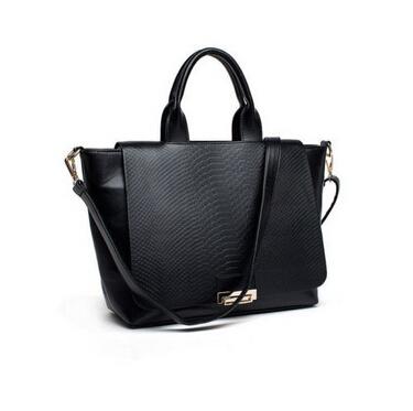 US Shipping Lady Snake PU Leather Handbags Tote Black Shoulder Bag(China (Mainland))