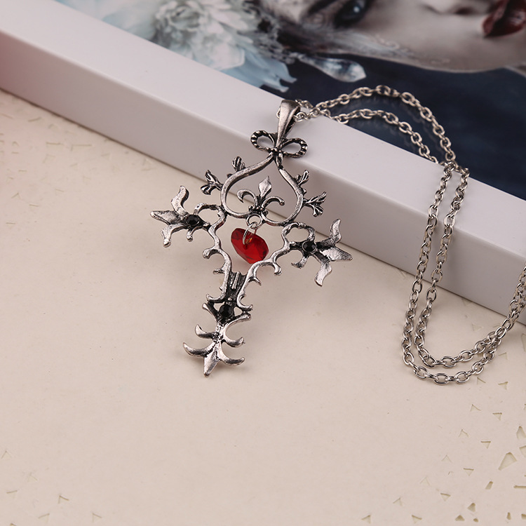 2015 Free Shipping Vampire Diaries Fantasy Saint Vintage Jewelry Gothic Heart Cross Pendant Necklace Ruby Jewelry for women(China (Mainland))