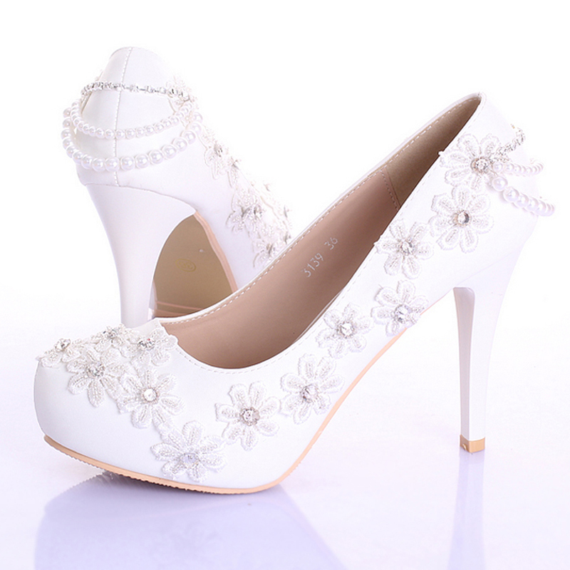 Spring And Summer Beautiful Formal Dress Shoes White Lace Flower Bridesmaid Shoes 4 Inches Stiletto Heel Women Platforms(China (Mainland))
