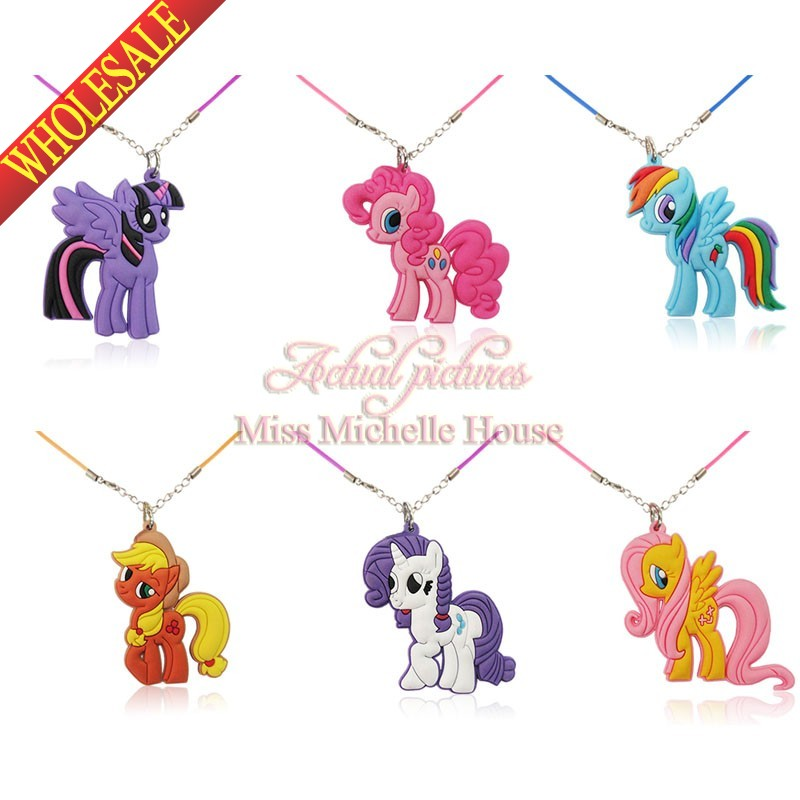 1PCS My Little Ponies Cartoon Chains Pendant Necklaces Rope Chain Chokers Necklace Kids Party Gifts(China (Mainland))