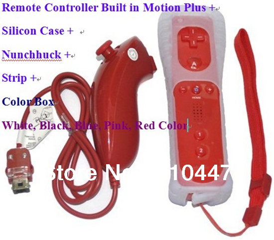 Red Color Remote Controller built in Motion Plus (Silicon Case and Strip) + Nunchuck for Wii(White, Black, Pink, Blue, Red)