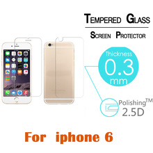For iPhone 6 6s Front+Back 0.3mm Tempered Glass protective film 2.5D Arc Edge 9H Screen Protector with Clean Tools