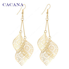 CACANA Gold Plated Dangle Long Earrings With 3 Same Hollow Leaves For Women Bijouterie Hot Sale No.A95 A96(China (Mainland))
