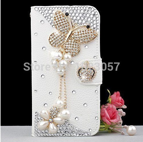 Elegant Butterfly Crown Rose Bling Crystal White PU Leather Wallet Case For ZTE V3 Mighty 3 V5 Pro N939St(China (Mainland))