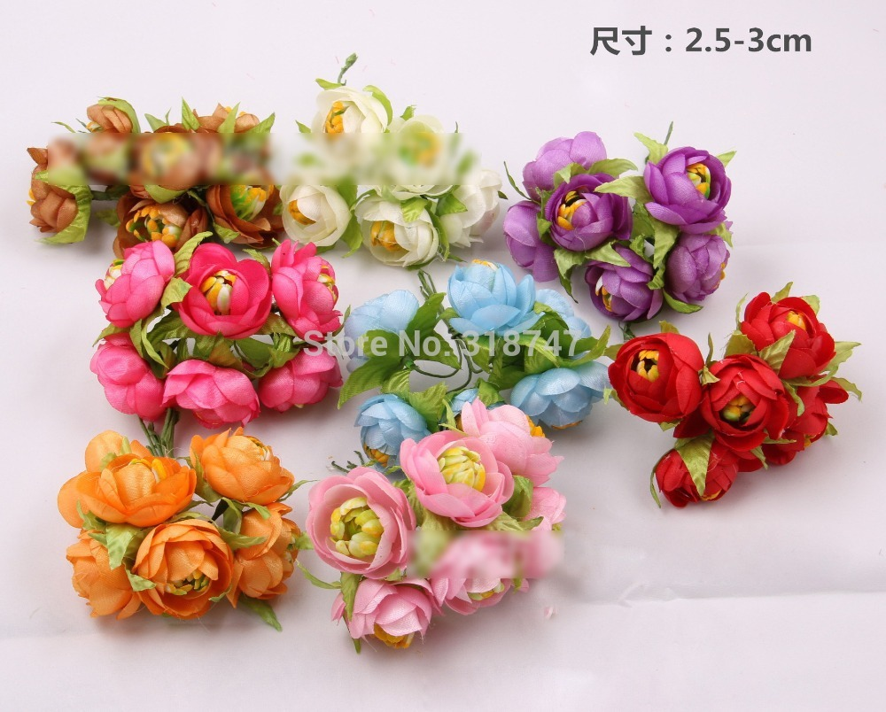 Гаджет  Free shipping Multicolor Artificial Camellia Flower Bouquet Cloth Flower Wedding Decoration Bridal Bouquet 48pcs/lot 02701001 None Дом и Сад