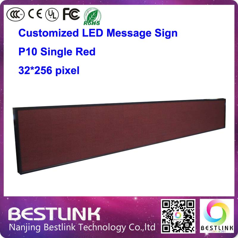 outdoor led advertising board 32*256 pixel p10 led single red led programable electronic scoreboard led display screen board(China (Mainland))