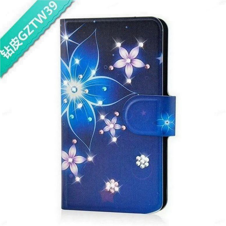 Handmade Blue and Pink Flower Bling Rhinestone PU Leather Flip Case Cover for Blackberry Z30(China (Mainland))