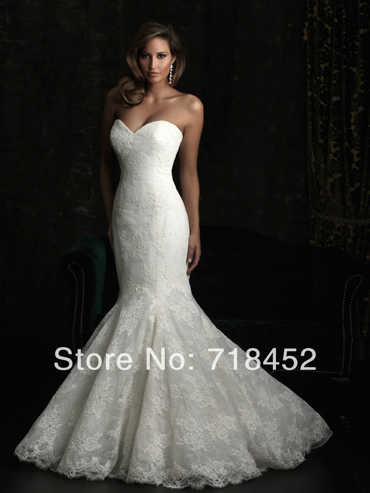 2014 mermaid lace wedding dresses low back bridal gowns in