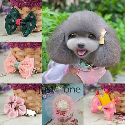 Sweet Dog Hair Bow Flower Cloth Pet Cat Puppy Grooming Hair Tie Pin Clip Hot 41(China (Mainland))