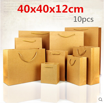 40x40x12cm 10pcs Big reclosable stand up Composite materials kraft paper pack bag with handle/ Packaging Daily necessities pouch(China (Mainland))