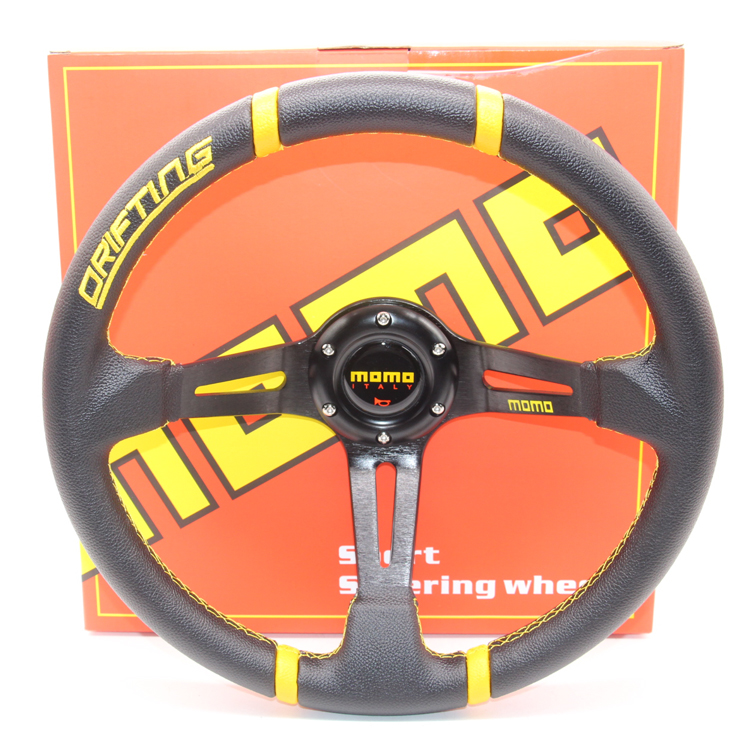 14 inches (Around 350mm PVC Racing Steering Wheel MOMO Drifting Steering Wheel PVC(black-yellow/black-red)<br><br>Aliexpress