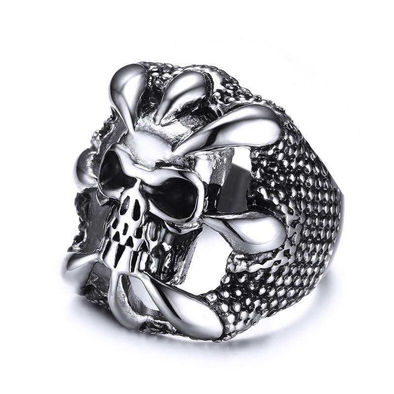 Men's Biker Rings Stainless Steel Dragon Claw Skull Bague Band Vintage Gothic Punk Rock Jewelry Silver Black US Size 7-12(China (Mainland))