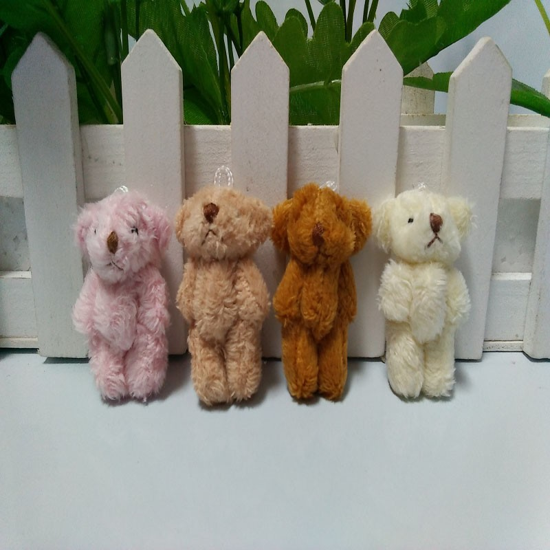 10 pcs/lot,4.5cm mini color teddy bear with long wool doll pendants wholesale baby cartoon bouquet, 4 colors to choose(China (Mainland))