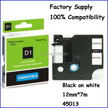 12mm*7m Factory Supply Black on White Adhesive Compatibles Dymo Label Tape 45013(Freeshipping)