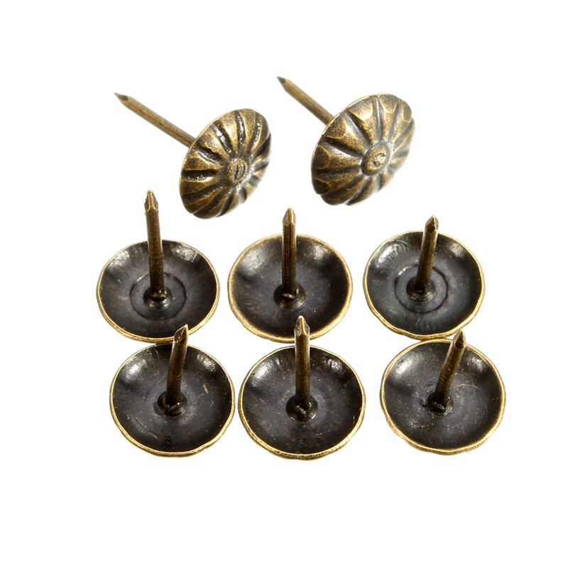 100pcs Antique Brass Upholstery Nail Jewelry Gift Wine Case Box Sofa Decorative Tack Stud Pushpin Doornail Hardware 10x16mm(China (Mainland))