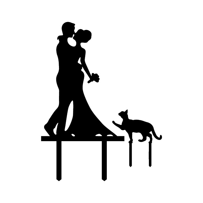 Bride and Groom Cake Topper Acrylic Silhouette Wedding Cake Topper Wedding Cake Topper Cake Decor with Pet Cat(China (Mainland))