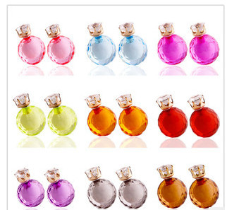 2 Pairs Section new ball earrings transparent candy Pearl Earrings B1017(China (Mainland))
