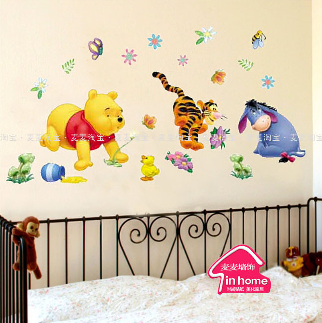 Free shipping Cubs Donkeys living room sofa background color cartoon children Decals Wallpaper Decoration Wall Stickers 100CM(China (Mainland))