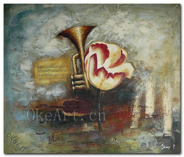Hand Painted Impressionist Music Oil Painting Sax And Flower Decorative Painting Living Room Paintings Wall Decor(China (Mainland))