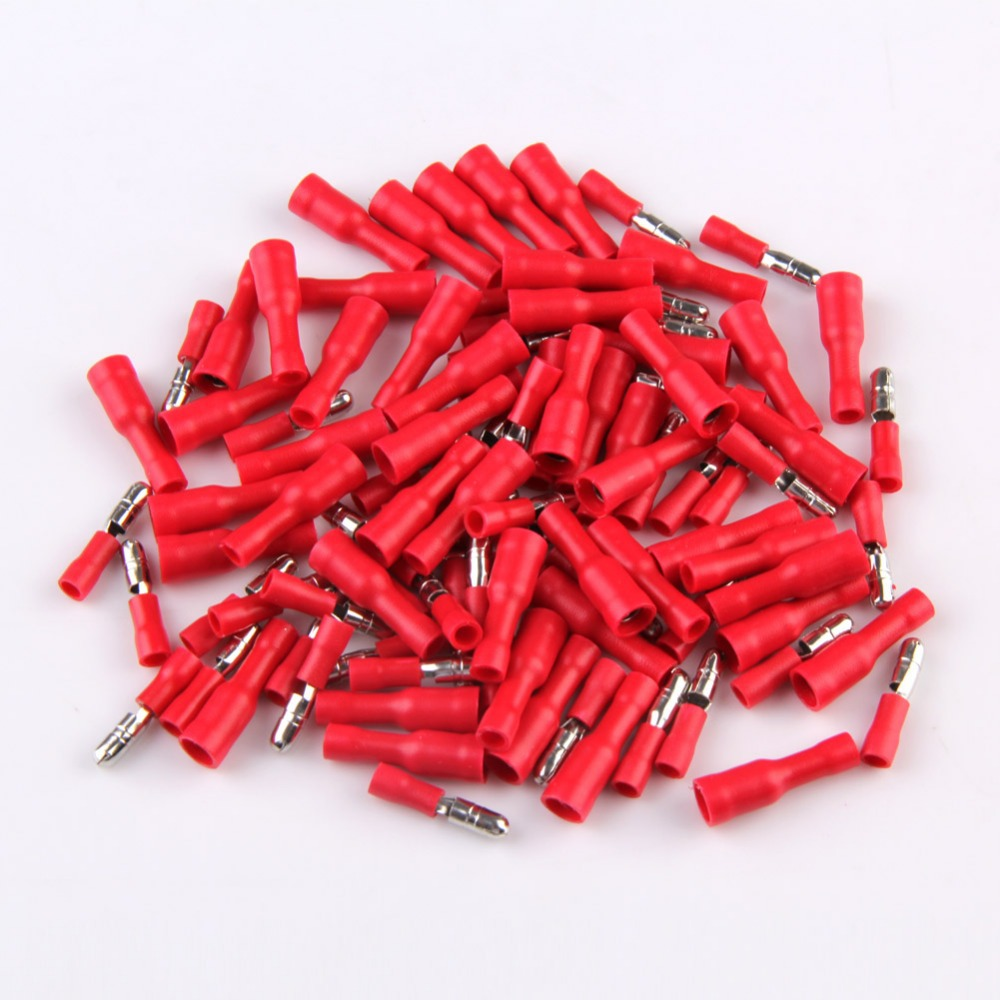 Fully Insulated Crimp Terminals 4MM Red Insulated Female Male Bullet Butt Connector Crimp Terminals E TN
