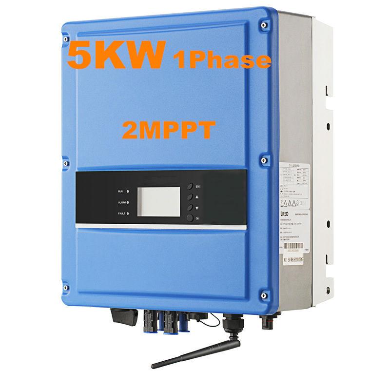 Cool !Solar Inverter 5000W Grid Tie Inverter 2MPPT Single Phase High Frequency Inverter 220VAC 50/60 HZ Pure Sine Wave Inverter(China (Mainland))