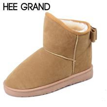 HEE GRAN 2016 Botas de Nieve Invierno Mujeres Botines Rebaño Zapatos de plataforma Mujer Slip On Pisos Enredaderas Ocasionales Más El Tamaño XWX2642(China (Mainland))