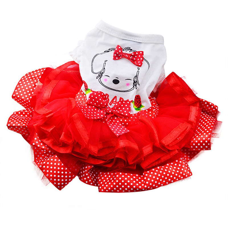 Pet Cat Princess Dress Doggie Print Bubble Skirt Puppy Clothes Dog Apparel Skirt Teddy Princess Dresses(China (Mainland))
