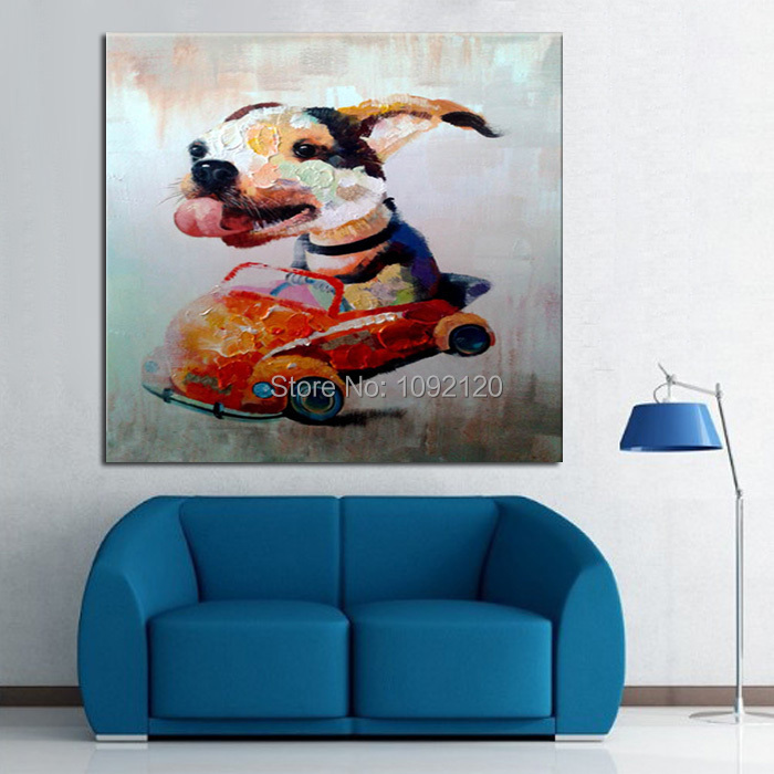 Hand Painted Oil Painting On Canvas Stupid Dog Drive A Car