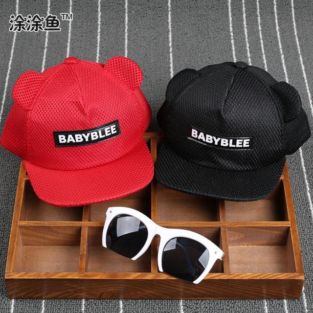 Свободного покроя надписи унисекс комикс уши шляпа и младенцы дети сетчатая ткань хип-хоп лежа вдоль бейсбол кепка, Солнцезащитные головные уборы для 2-5Yrs