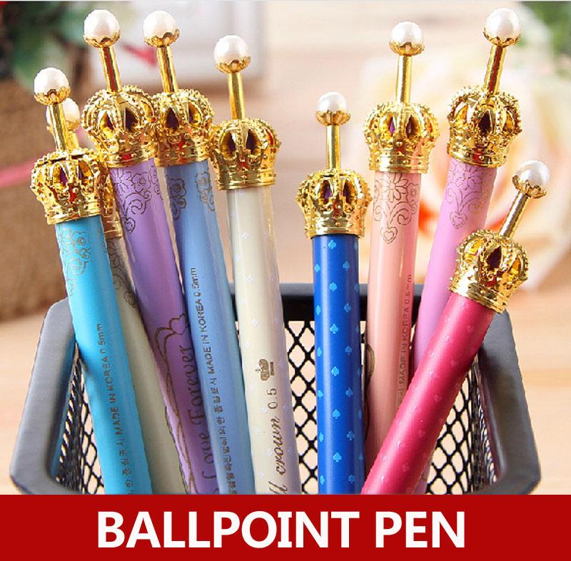 30pcs/lot , Cute crown ballpoint pen for writing , kawaii crown pen for school stationary , crown ball-point pen<br><br>Aliexpress