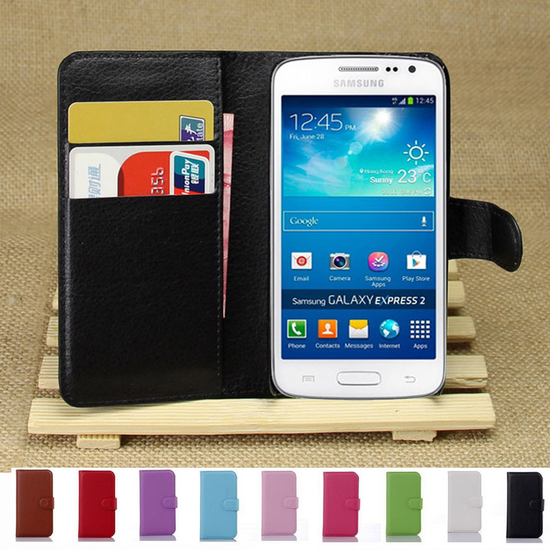 Wallet Case For Samsung Galaxy Express 2 G3815 Express2 PU Leather Kickstand TUP Back Shell Pink Green Purple Blue Black White(China (Mainland))