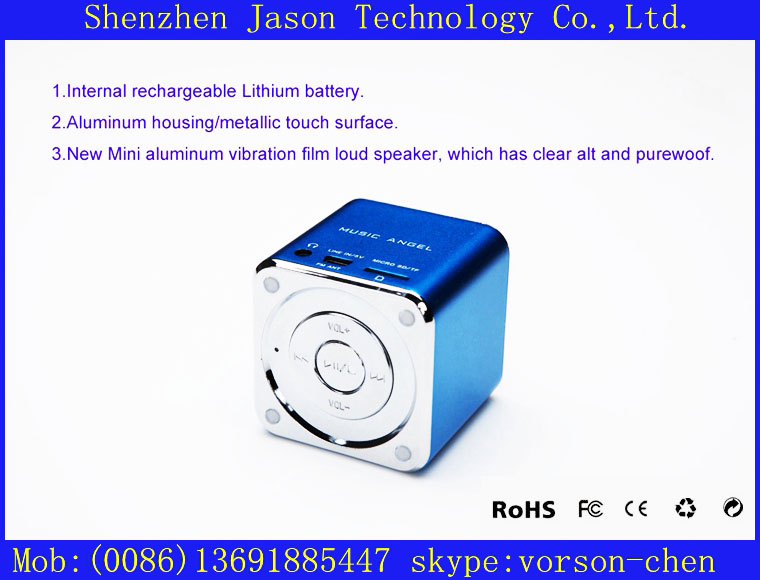 free shipping +portable wireless speaker with sd card slot(China (Mainland))