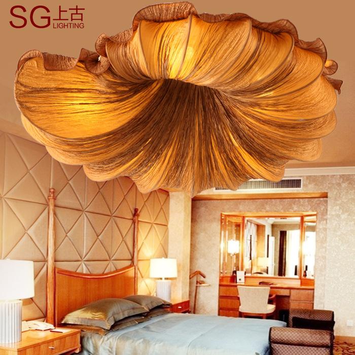 Acquista Cinese sala da tè creativo moda tessuto lampada da soffitto ...