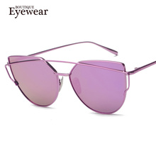 BOUTIQUE New Women 6 Colour Luxury Cat Eye Sunglasses Women Sunglasses Double-Deck Alloy Frame UV400(China (Mainland))
