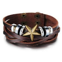 men vintage jewelry hand woven leather bracelet luxury brand bangle steampunk fashion items with star as gifts wholesale