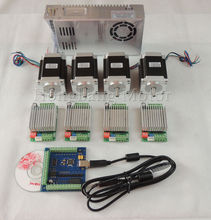 Kit de 4 Ejes CNC mach3 USB, 4 unids TB6600 stepper motor controller driver + USB tarjeta 100 KHz + 4 unids nema23 $ number oz-in motor + power suministro