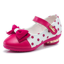 New Arrive Girls leather shoes princess bow shoes girls Polka Dot single shoes 4 colors free shipping(China (Mainland))