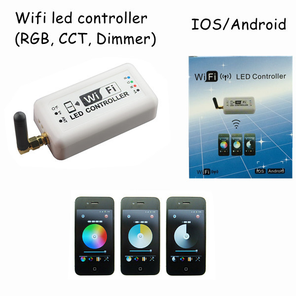 1pcs dc12v 24v 12A wifi 2.4Ghz rgb /color temperature /dimmable mini smart home led dimmer controller control by Android/IOS(China (Mainland))